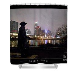 Austin Hike And Bike Trail - Iconic Austin Statue Stevie Ray Vaughn - One Greeting Card Poster Shower Curtain by Felipe Adan Lerma