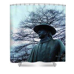 Austin Hike And Bike Trail - Iconic Austin Statue Stevie Ray Vaughn - Two Shower Curtain by Felipe Adan Lerma