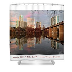 Austin Hike And Bike Trail - Train Trestle 1 Sunset Left Greeting Card Poster - Over Lady Bird Lake Shower Curtain