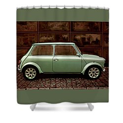 Austin Mini Cooper Mixed Media Shower Curtain by Paul Meijering