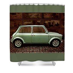 Austin Mini Cooper Mixed Media Shower Curtain