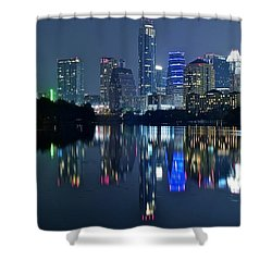 Austin Night Reflection Shower Curtain by Frozen in Time Fine Art Photography