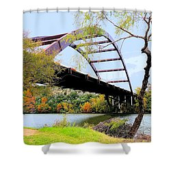 Austin Pennybacker Bridge In Autumn Shower Curtain