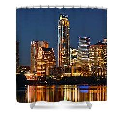 Austin Skyline At Night Color Panorama Texas Shower Curtain