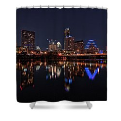 Shower Curtain featuring the photograph Austin Skyline At Night by Todd Aaron