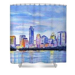 Austin Skyline Sunset Glow Shower Curtain