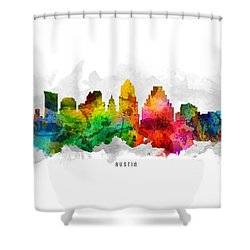 Austin Texas Cityscape 12 Shower Curtain by Aged Pixel