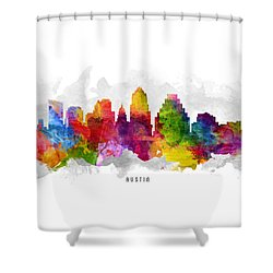 Austin Texas Cityscape 13 Shower Curtain by Aged Pixel