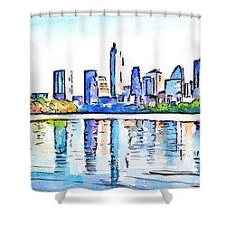 Austin Texas Skyline Lady Bird Lake Shower Curtain