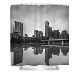 Shower Curtain featuring the photograph Austin Texas Skyline Reflecting In Ladybird Lake Long Exposure by Todd Aaron
