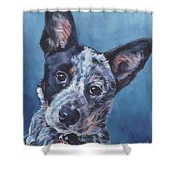 Shower Curtain featuring the painting Australian Cattle Dog by Lee Ann Shepard