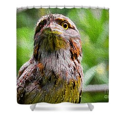 Shower Curtain featuring the painting Australian Frogmouth by Judy Kay