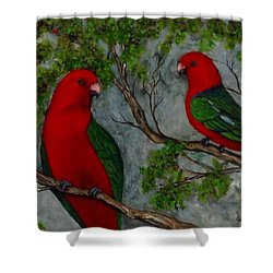Australian King Parrot Shower Curtain by Renate Voigt