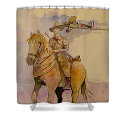Shower Curtain featuring the painting Australian Light Horse Regiment. by Ray Agius