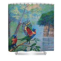 Australian Rainbow Parrots Shower Curtain