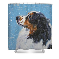 Australian Shepherd In Snow Shower Curtain by Lee Ann Shepard