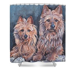 Shower Curtain featuring the painting Australian Terriers by Lee Ann Shepard