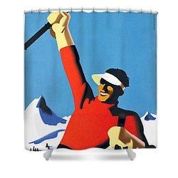 Austria Ski Tourism - Vintage Poster Restored Shower Curtain