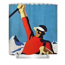 Austria Ski Tourism - Vintage Poster Vintagelized Shower Curtain