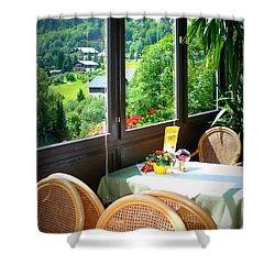 Austrian Cafe Shower Curtain by Carol Groenen
