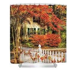 Autumn - House - Festive  Shower Curtain by Mike Savad