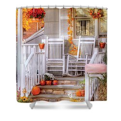 Autumn - House - My Aunts Porch Shower Curtain by Mike Savad