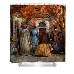 Autumn - People - A Walk Downtown  Shower Curtain by Mike Savad