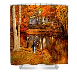 Autumn - People - Gone Fishing Shower Curtain by Mike Savad