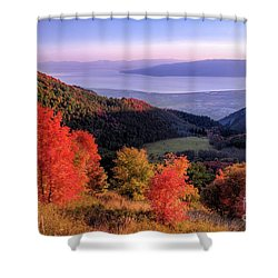 Autumn Above Utah Lake Shower Curtain