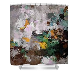 Shower Curtain featuring the painting Autumn Abstract Painting by Ayse Deniz