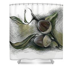 Shower Curtain featuring the drawing Autumn Acorns On An Oak Twig by MM Anderson