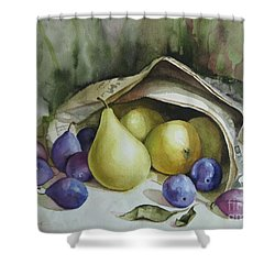 Shower Curtain featuring the painting Autumn Again by Elena Oleniuc