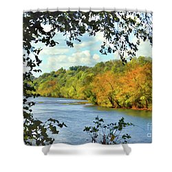 Autumn Along The New River - Bisset Park - Radford Virginia Shower Curtain