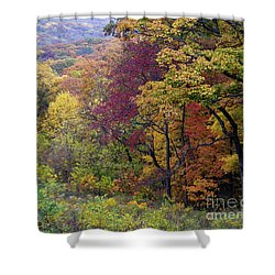 Shower Curtain featuring the photograph Autumn Arrives In Brown County - D010020 by Daniel Dempster