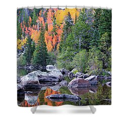 Shower Curtain featuring the photograph Autumn At Bear Lake by David Chandler