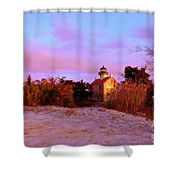 Autumn At East Point Lighthouse Shower Curtain