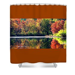Autumn At Laurel Lake Shower Curtain by Angela Davies