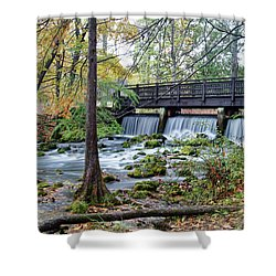 Shower Curtain featuring the photograph Autumn At Maramec Spring by Cricket Hackmann