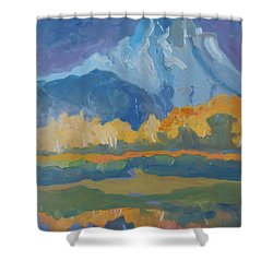 Shower Curtain featuring the painting Autumn At Mt. Moran by Francine Frank
