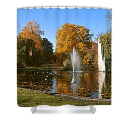 Shower Curtain featuring the photograph Autumn At The City Park Pond Maastricht by Nop Briex