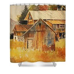 Autumn Barn And Sheds Shower Curtain by Al Brown