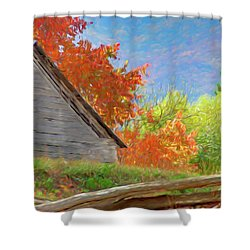 Autumn Barn Digital Watercolor Shower Curtain