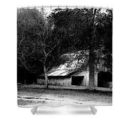 Autumn Barn In Alabama Bw Shower Curtain