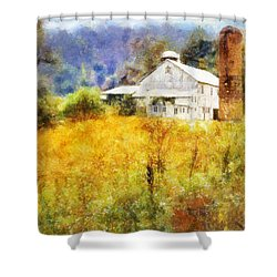 Shower Curtain featuring the digital art Autumn Barn In The Morning by Francesa Miller