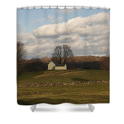 Autumn Barn On The Meadow Shower Curtain