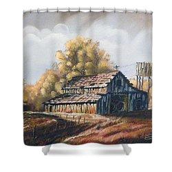 Autumn Barnyard Shower Curtain by Sherril Porter