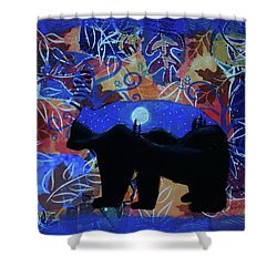 Autumn Bear Silhoutte Shower Curtain