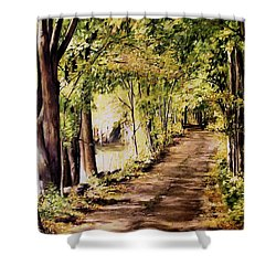 Shower Curtain featuring the painting Autumn Begins In Underhill by Laurie Rohner