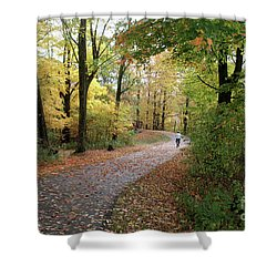Shower Curtain featuring the photograph Autumn Bicycling by Felipe Adan Lerma