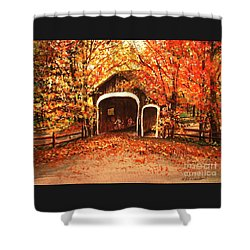 Shower Curtain featuring the painting Autumn Bike Ride by Patricia L Davidson